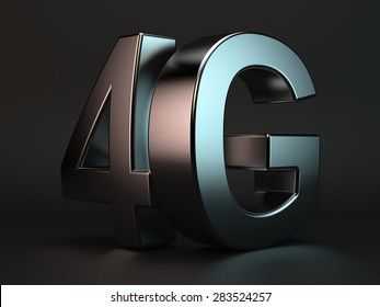 3d rendering of 4G cellular high speed data connection concept logo