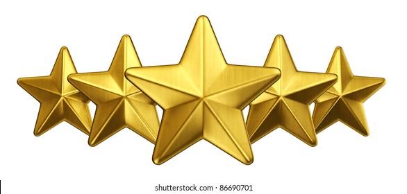 3d rendering of 5 gold stars