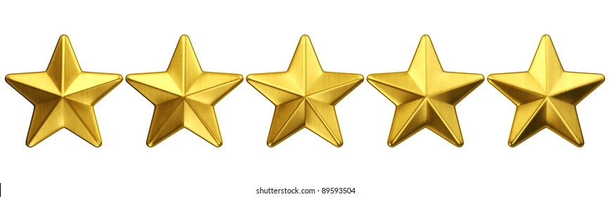 3d rendering of 5 gold stars