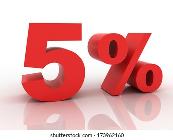 3d rendering of a 5 percent discount in red letters on a white background
