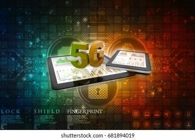 3 D Rendering 5 G Network 5 G Connection Stock Illustration