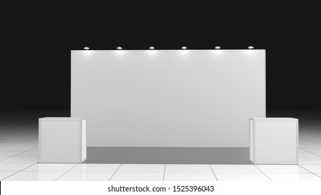 3d rendering 6x3 exhibition stand. Empty mockup
