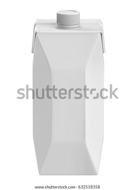 3D Rendering 750ml Carton box with Screw Cap Mock-up, White blank milk or juice carton box