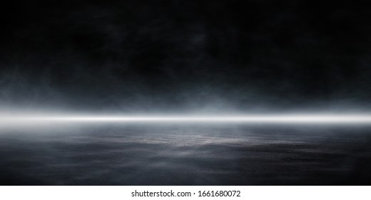 3D Rendering Abstract asphalt light in a dark street and smoke.