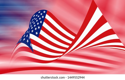 3D rendering - Abstract background of American flag