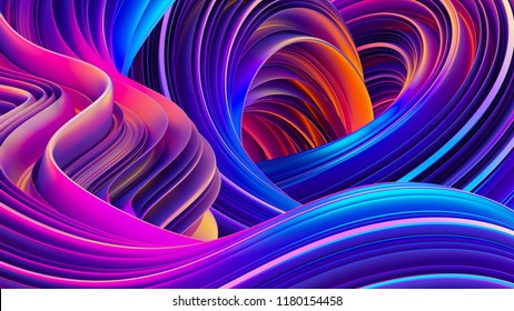 3D rendering abstract background. Fluid shapes design. Shiny wrapping foil. Twisted shapes in motion. Festive holographic backdrop. 3D rendering.