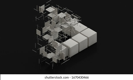 3D rendering of an abstract background with geometry elements. White cubes and segments, polygons are arranged in the construction of an impossible triangle. Abstract background, futuristic design.