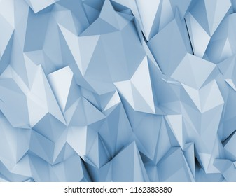 3D rendering abstract background. Illustration of blue geometric stones