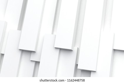 3D rendering abstract background. Illustration of white geometric stones