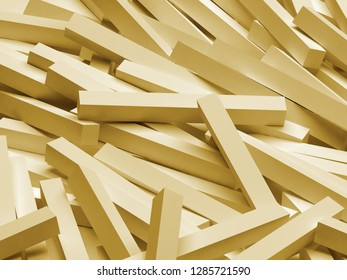 3D rendering abstract background. Illustration of gold geometric stones