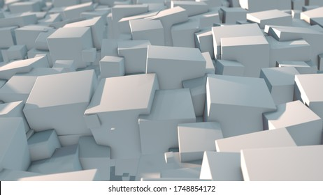 3D rendering of an abstract background of many cubes in a terrible mess order. Background image for screensavers and futuristic design. The idea of chaos, destruction and disorder.