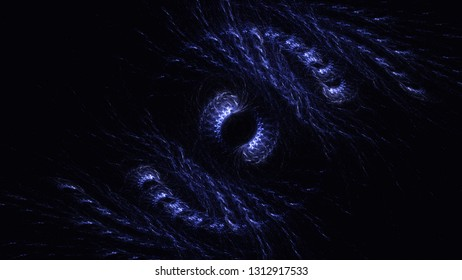 3D rendering abstract blue fractal light background