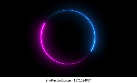 3D rendering of an abstract bright neon frame. Glowing neon line in the form of a circular path. Background laser show
