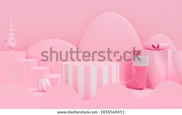 3d rendering of abstract Christmas tree scene pink podium with star snowflake and gift box. Cute Christmas and Happy New Year on pastel background for winter holiday greeting card, mockup in studio.