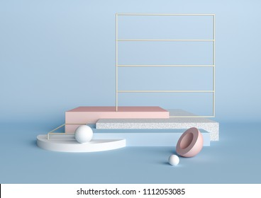 3d rendering abstract composition. Geometric shapes on blue background for product presentation or mockup. Minimalistic, modern design platforms with cubes, spheres and metallic grid.