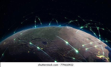 3D rendering abstract concept of global network. Internet and global communications, global business and transport communications of the Earth