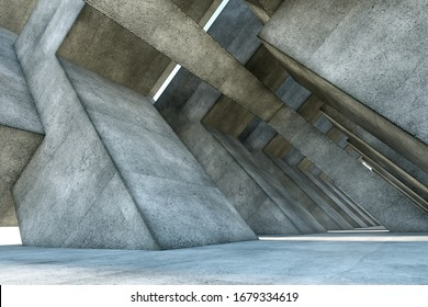 3D rendering Abstract concrete interior with geometric shapes, modern architecture background. mockup, layout.