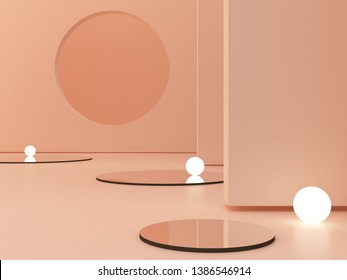3d rendering, abstract cosmetic background. Show a product. Empty scene with cylinder mirror and spherical lights  in the floor. Pastel cream minimal wall. Fashion showcase, display case, shopfront.