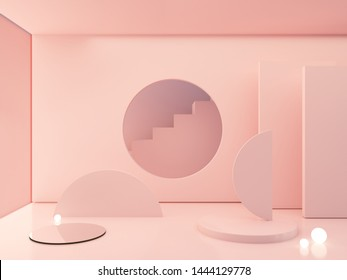 3d rendering, abstract cosmetic background. Show a product. Minimal scene with cylinder mirror and spherical lights  in the floor. Pink podium and stairs. Fashion showcase, display case, shopfront.