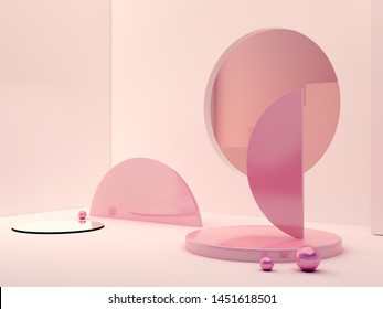 3d rendering, abstract cosmetic background. Show a product. Empty scene with cylinder mirror, spheres and podium. Pastel pink minimal wall and stair. Fashion showcase, display case, shopfront.