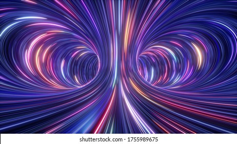3d rendering, abstract cosmic background, ultra violet neon rays, glowing lines, cyber network, speed of light, space and time strings, bright twist