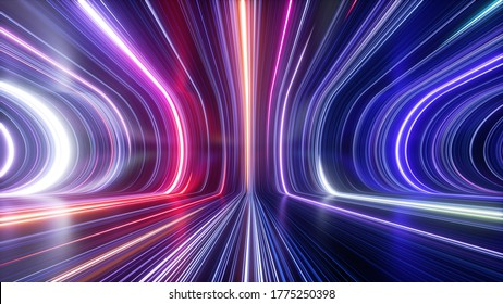 3d rendering, abstract cosmic background, ultra violet neon rays, glowing lines, cyber network, speed of light, space-time continuum