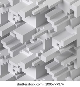 3d rendering, abstract cube background, white voxel mosaic, geometric shapes