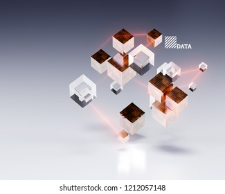 3d rendering of abstract cubes with energy laser lines and chromatic glitches.Big data or cloud data illustration.