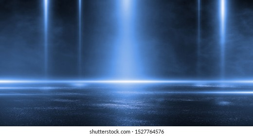 3D rendering abstract dark empty scene blue neon searchlight light wet asphalt smoke night view rays.