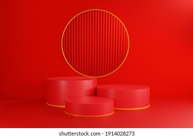 3d rendering abstract Empty podium on dark red background with showcase and circular for product minimal presentation. cosmetics stand, Chinese New Year, banner, sale, copy space