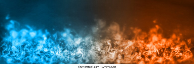 3D Rendering of abstract Fire and Ice element against (vs) each other background. Heat and Cold concept. Banner size
