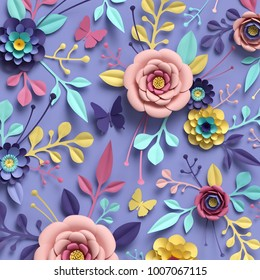 3d rendering, abstract floral background, paper flowers, botanical pattern, papercraft, candy pastel colors, bright hue palette