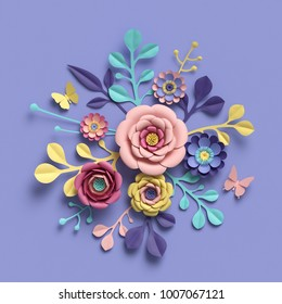 3d rendering, abstract floral background, paper flowers, botanical pattern, bridal round bouquet, papercraft, candy pastel colors, bright hue palette