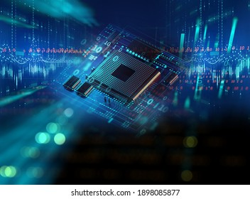 3d rendering of Abstract futuristic pcb pattern  and cpu background illustration