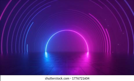 3D-Rendering, abstrakter futuristischer, rosafarbener Neonhintergrund, kosmischer Hintergrund, Rundbogen-Glühen im ultravioletten Spektrum