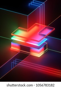 3d rendering, abstract geometric background, minimalistic mock up, shining neon light, empty showcase, primitive architecture shapes, shop display, glowing spectrum, vivid colors