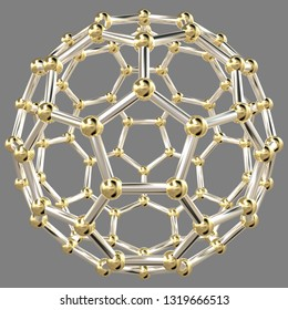 3D rendering of an abstract geometric shape made of hexagons with golden balls at their vertexes forming a spherical structure, on 50% gray background.