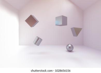3d rendering of abstract geometry blocks in empty room