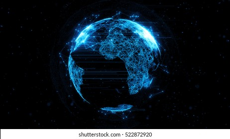 3d rendering abstract globe with particles and plexus structure. Digital technology planet. Triangulated structure. Glows and particles.