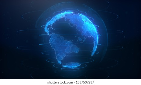 3d rendering abstract globe virtual planet Earth. Digital technology planet.