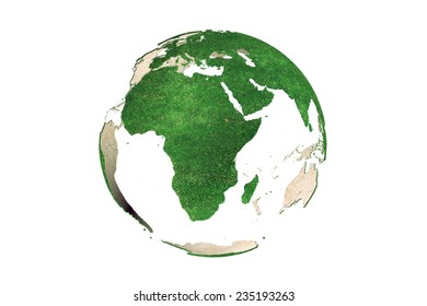 3D rendering of abstract green Earth globe (Africa continent looking as grassy) on white background
