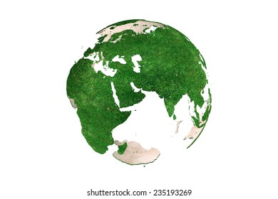 3D rendering of abstract green Earth globe Europe continent (looking as grassy)