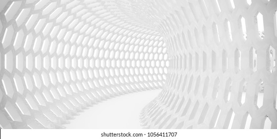 3D Rendering Of Abstract Hexagon Grid Mesh Tunnel