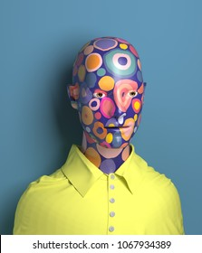 3d rendering of abstract human torso in yellow shirt, with bright texture in a circles. Painted bust sculpture on blue background, modern art.