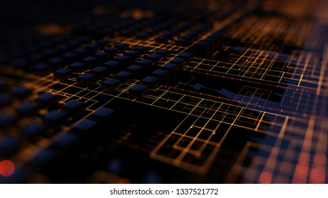 3D Rendering Abstract illustration of a processing data channel. Motion of digital data flow. Transferring of big data. Transfer and storage of data sets.