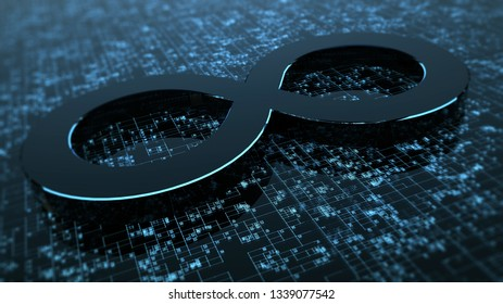 3D rendering abstract image of the symbol of infinity. Background consisting of glow numbers and lines. The concept of circulation of information.