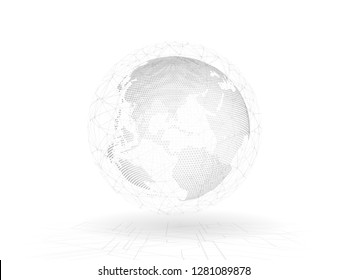 3D Rendering of Abstract  innovation communication connection lines around planet earth. Grey halftone dots geometric sphere globe shape with wired network and sci fi technology background.