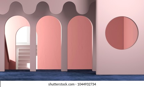 3d rendering of abstract interior design. Empty modern showroom with architectural elements, circular arc, round opening, stairs. Trendy colorful space with velvet carpet on floor. Luxury  background