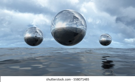 3D rendering abstract liquid transparent sphere above water