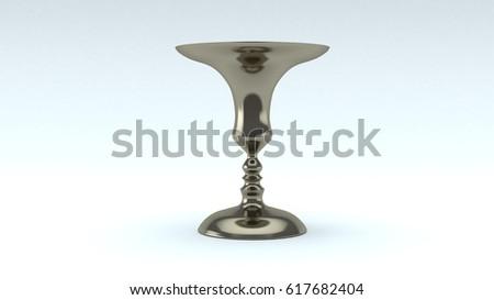 3 D Rendering Abstract Metallic Vase On Stock Illustration 617682404